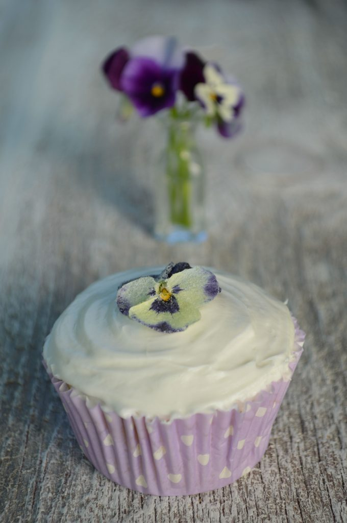 Candied Violet Cupcakes - Everlasting Love of Flowers
